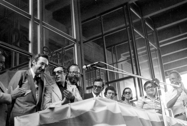 Escola d'Estiu de 1977, amb els candidats de les primeres eleccions generals: Josep Laporte, Jordi Solé Tura, Lluís M.Xirinacs, Joan Reventós, Jaume Sobrequés, Eulàlia Vintró, Marta Mata, Ramon Moragas / ARXIU ROSA SENSAT